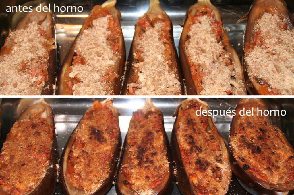 berenjenas antes y despues del horno