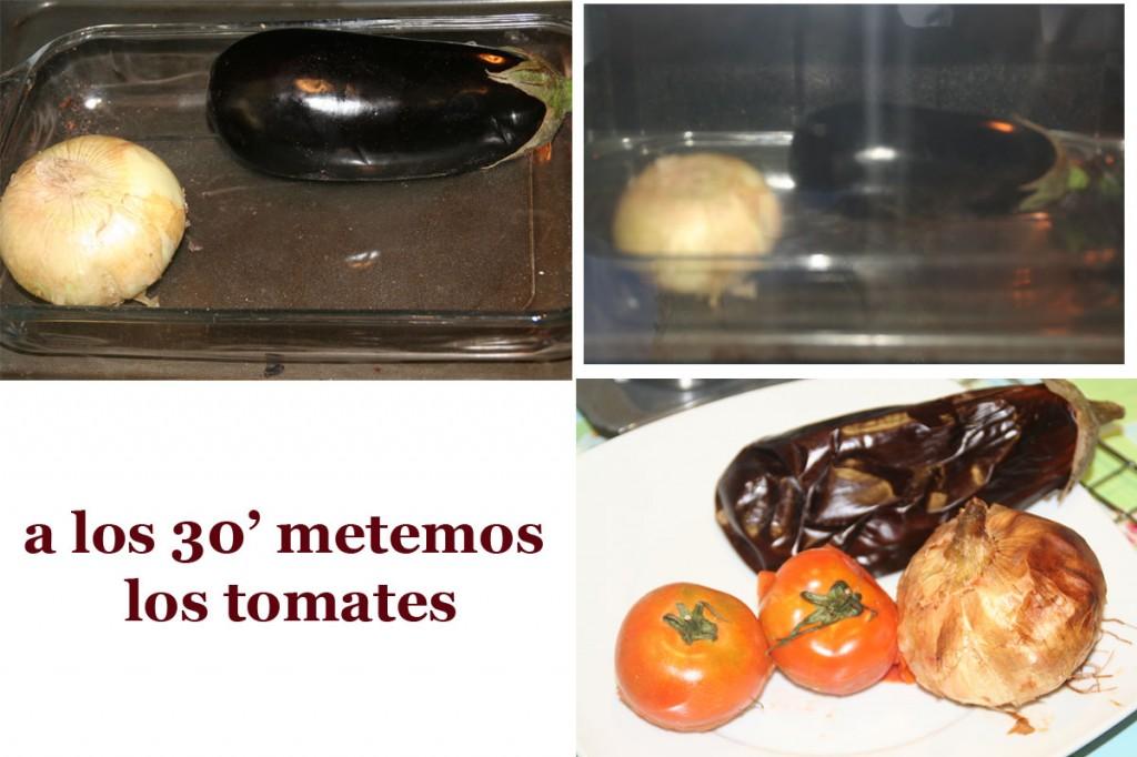 Berenjena, tomates y Cebolla en el horno