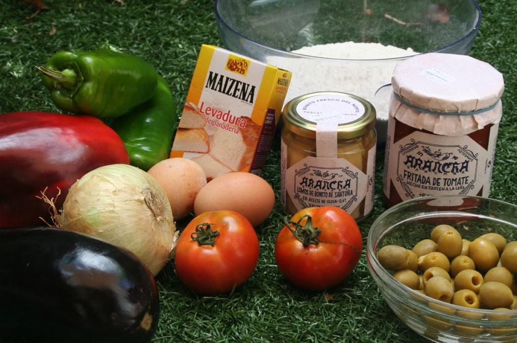 Ingredientes principales de la Empanada de bonito y verduras