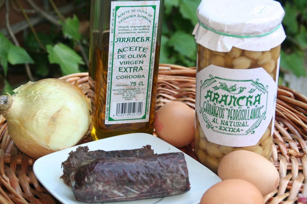 Garbanzos, Morcilla, cebolla, Huevos y Aceite