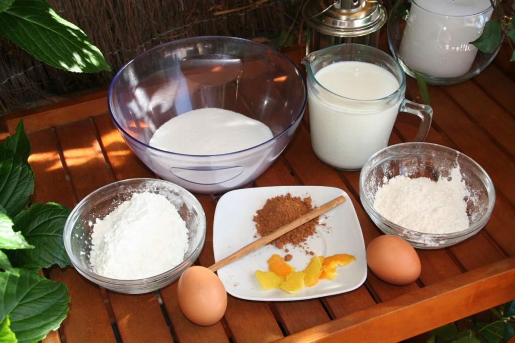 Para la Leche Frita (Harina Maiz, Harina, Leche Fresca, Azucar, Canela, limon y naranja...)