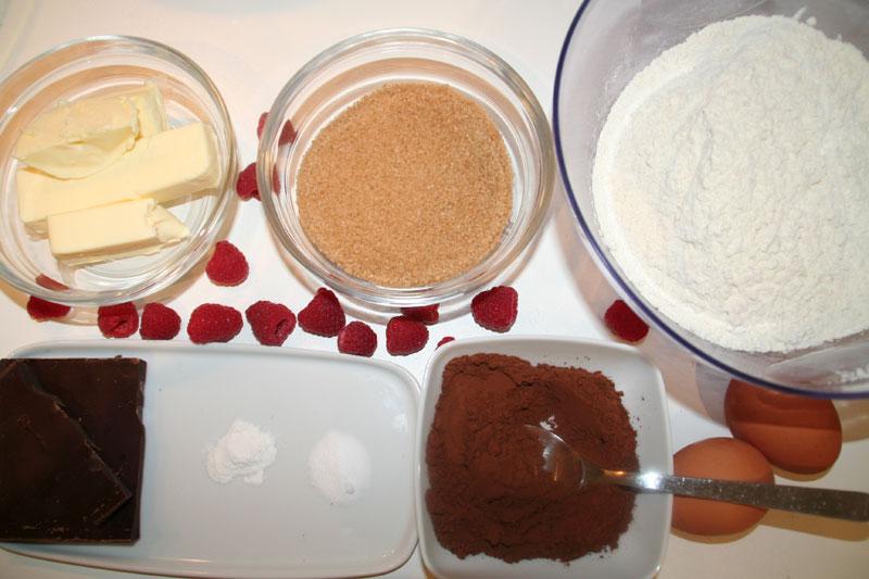 Ingredientes de estos Muffins de chocolate y frambuesas