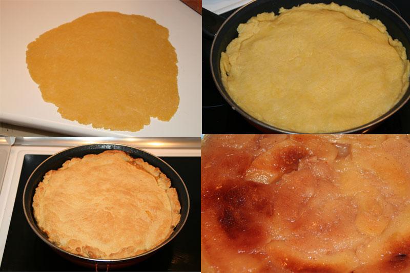 se estira la masa, se coloca sobre las manzanas y se mete al horno...