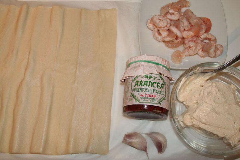 Ingredientes de la tarta de piquillos y gambas