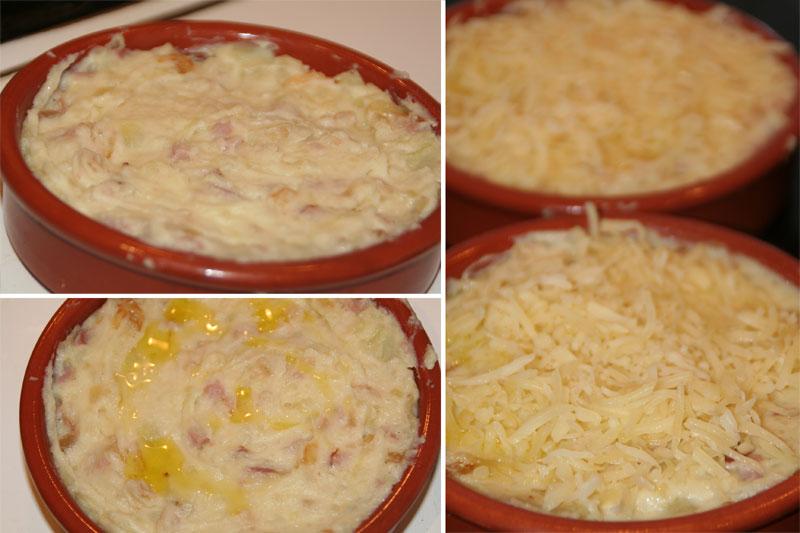 Se rellenan las cazuelas, un chorrito de aceite y queso gratinado.