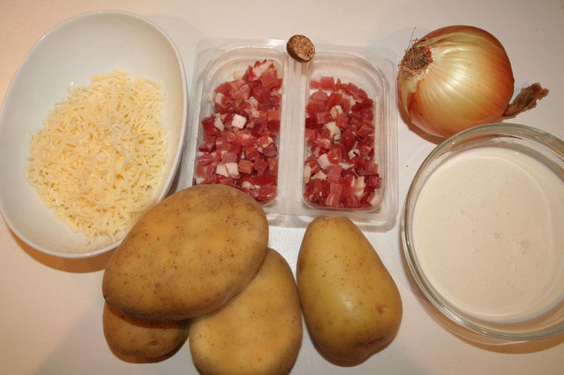Ingredientes de las cazuelitas de Jamon