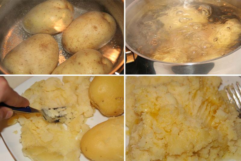 """Cocemos las patatas y las """"trituramos"""" con un tenedor cuando esten cocidas"""