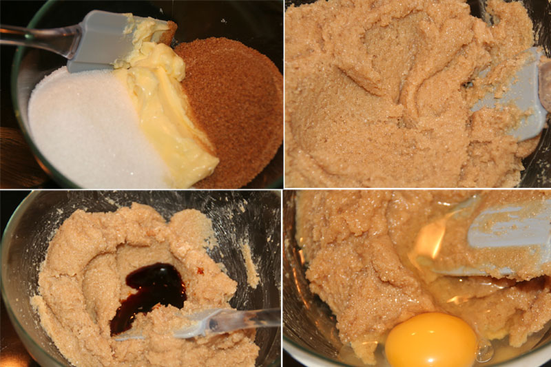 Mezclamos al azucar con la mantequilla, esencia de vainilla y huevos