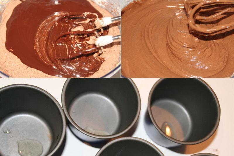 Añadimos el chocolate fundido y aceitamos los moldes