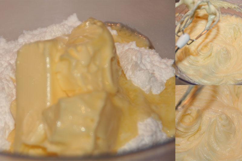 Mezclamos la mantequilla y el azucar glass