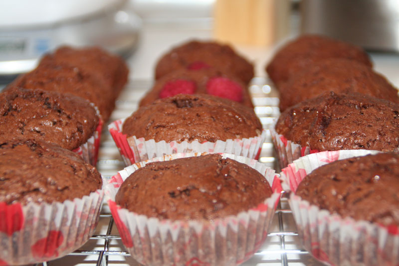 Muffins de chocolate y frambuesa