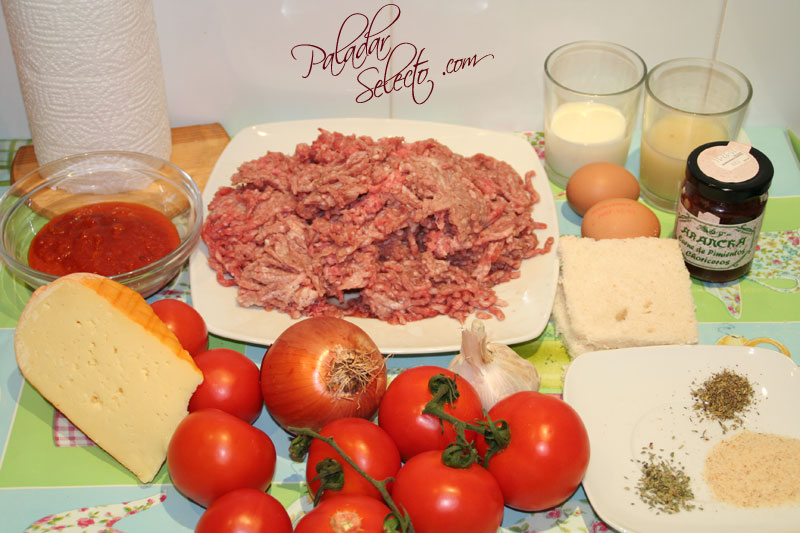 Ingredientes para preparar las albondigas