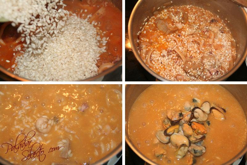 Añadimos el arroz, y cazo a cazo el caldo.. al final lo mejillones