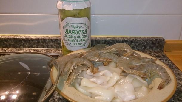 calamares y gambas con alcachofas1