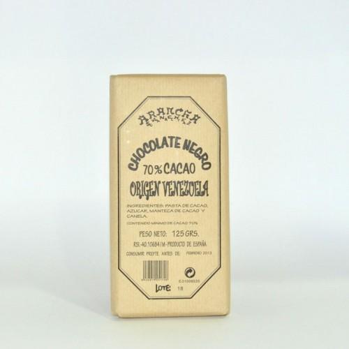 Chocolate Negro Puro 70% Cacao Venezuela Arancha, 125 gr.