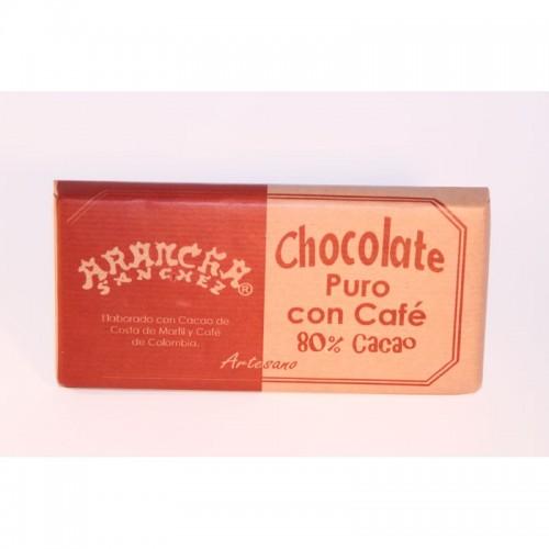 Chocolate puro con CAFE 80% cacao Arancha, 125 gr.