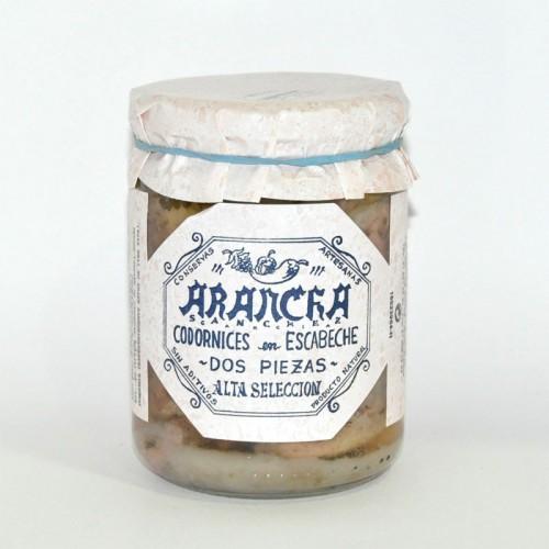 Codornices en Salsa Escabeche (2 Piezas) Arancha, 390 gr.