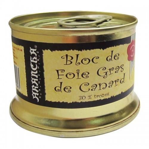 Bloc de Foie Gras de Pato con 30% Trozos Arancha, 130 gr.