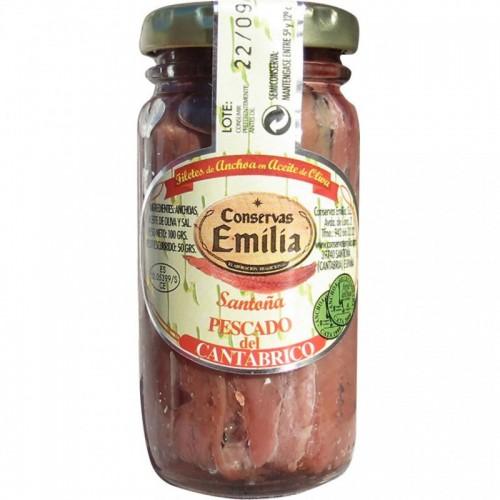Anchoas Emilia pescado del cantábrico Emilia, Neto 78 gr escurrido 50 gr.