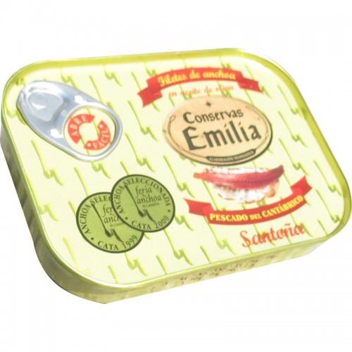 Anchoas Emilia 00 pescado del cantábrico doble octavillo Emilia, Lata 78 gr escurrido 50 gr.