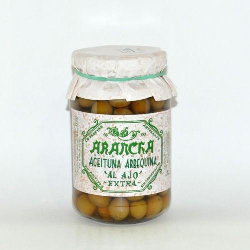 Aceitunas Arbequinas Aliñadas sin Aceite Arancha, 220 grs.